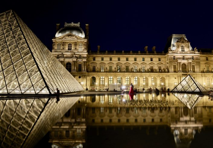 Paris Nikon D610 Le Louvre night picture Chinese wedding street photography Pyramide